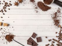 Background with different coffee, coffee bean, earth, and instantly, chocolate, copy space, top view. Background with different coffee, coffee bean, earth, and royalty free stock photo