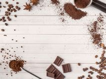 Background with different coffee, coffee bean, earth, and instantly, chocolate, copy space, top view. Background with different coffee, coffee bean, earth, and royalty free stock photos