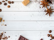 Background with different coffee, coffee bean, earth, and instantly, chocolate, copy space, top view. Background with different coffee, coffee bean, earth, and stock images