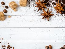 Background with different coffee, coffee bean, earth, and instantly, chocolate, copy space, top view. Background with different coffee, coffee bean, earth, and royalty free stock photography