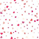 Background with different colored confetti hearts for valentine. Time. Seamless pattern Stock Image
