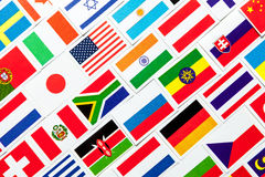 Background of different colorful national flags of the world. Collage. Background of different colorful national flags of the world. Diagonal collage Stock Photography