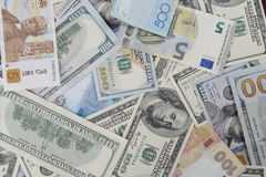 Background with Different Currency Royalty Free Stock Photos