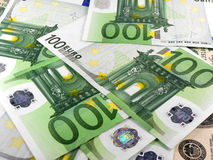 Background with different european union banknotes Stock Photography