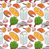 Background with different food - 2. Seamless background with different food. Fish, milk, bread Stock Photography