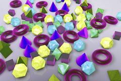 Background with different geometrical shapes. Background with different 3D geometrical shapes, 3D illustration Stock Photos