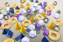 Background with different geometrical shapes. Background with different 3D geometrical shapes, 3D illustration royalty free illustration