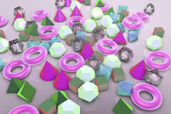 Background with different geometrical shapes. Background with different 3D geometrical shapes, 3D illustration stock illustration