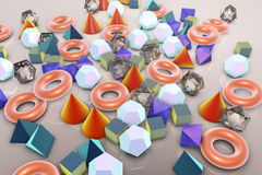 Background with different geometrical shapes. Background with different 3D geometrical shapes, 3D illustration Stock Image