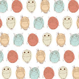 Background With Different Little Owls. Creative Hand Drawn Texture Stock Photo
