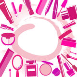 Background with different make-up items and blobs Stock Photography