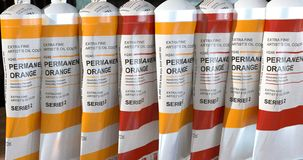 Background with different oil pint tubes. royalty free stock photography