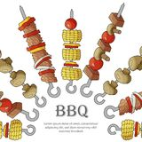 Background of different shish kebabs. vector illustration
