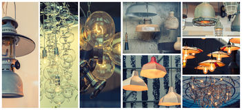 Background of different style of lamps Stock Photo