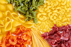 Background of different types of pasta Stock Photo