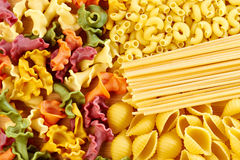 Background of different types of pasta Royalty Free Stock Image