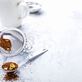 Background with different types of tea leaves Stock Image