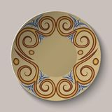 Background of dishes with a circular pattern in the ancient Greek style. Stock Photo