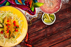 Background: Display of Tacos and a Margarita for Cinco De Mayo stock photo