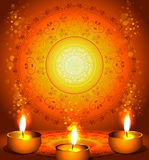 Background for diwali festival with lamps royalty free illustration