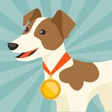 Background with dog champion winning gold medal Stock Image