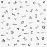 Background with dog paw print and bone vector illustration