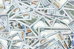 Background of 100 dollar bills. Money texture. Several thousand American bucks Royalty Free Stock Images