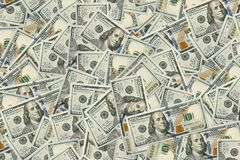 Background of 100 dollar bills. Money texture. Several thousand American dollars Royalty Free Stock Images