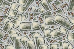 Background of 100 dollar bills. Money texture. Several thousand American dollars Stock Photography