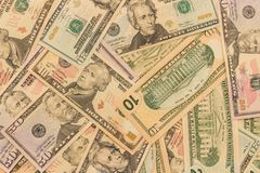 Background of dollar denominations of different denominations. S royalty free stock images