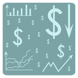 Background with dollar, schedule, arrows, chart, system of coordinates Stock Photos