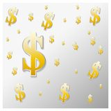 The background of the dollar sign. The background of the symbol of the dollar in gold vector illustration