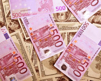 Background of dollars and euro Stock Photography