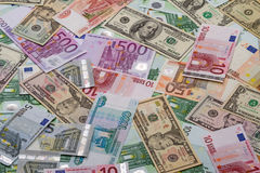 Background of dollars, euros and rubles. Background of paper money - dollars, euros and rubles Stock Images