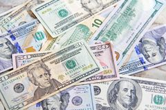 Background of dollars. Paper banknote Stock Photo