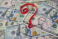Background from dollars and question mark Royalty Free Stock Images