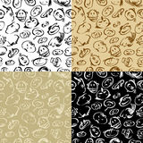 Background with a doodle faces Stock Photography