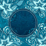 Background with doodle starfishes and porthole Royalty Free Stock Images