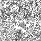 Background with doodle starfishes seaweeds for coloring page. Background with doodle starfishes seaweeds or  template for underwater world  or for coloring page Royalty Free Stock Photos