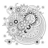 Background with doodle tangle flowers and mandalas Stock Image