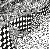 Background with doodling hand drawn patterns. Curls, waves, chessboard Royalty Free Stock Photography