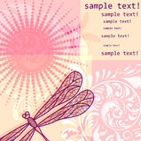 Background with dragonfly and flowers Stock Photo