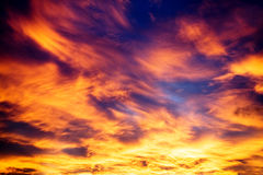 Background - dramatic evening sky. Look at the sky with alight windy clouds at west sun Stock Image