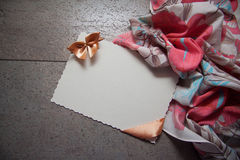 Background with drapery and postcard Royalty Free Stock Photography