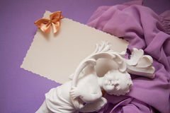 Background with drapery. White postcard with beige bow for text Royalty Free Stock Photo