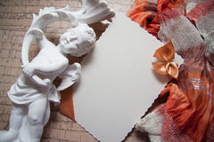 Background with drapery. White postcard with beige bow for text Stock Photography