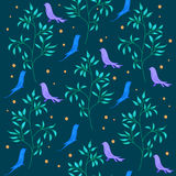 A background drawing of a branch with leaves and birds.  Royalty Free Stock Image