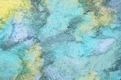 Background Drawing of Colorful Blue and Yellow Sidewalk Chalk Royalty Free Stock Images