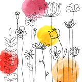 Background with drawing herbs and flowers. Vector background with doodle abstract herbs and flowers and watercolor paint stains, floral template stock illustration