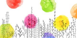 Background with drawing herbs and flowers. Vector background with doodle abstract herbs and flowers and watercolor paint stains, floral template vector illustration